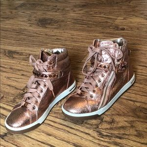 Michael Kors Shoes - MK rose gold high top tennis shoes.